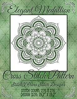 StitchX Cross Stitch Medallion Cross Stitch Pattern - Monochrome Design