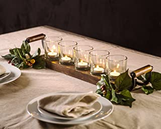 Le'raze Decorative Votive Candle Holder Centerpiece, 5 Glass Votive Cups On Wood Base/Tray for Wedding Decoration Dining Table with Handles