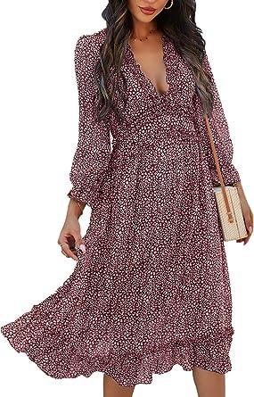 XYJD Lente en zomer vrouwen casual losse V-hals effen kleur afdrukken lange mouwen pullover jurk vrouwen