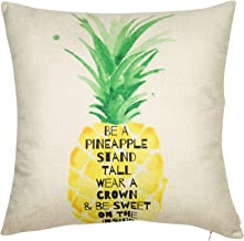 Softxpp Be a Pineapple Throw Pillow Cover Stand Tall Wear a Crown and Be Sweet on The Inside Summer Beach Fruit Decor Cushion Case Decorative for Sofa Couch 18 x 18 Inch Cotton Linen