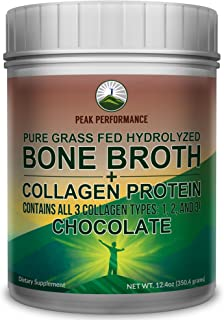 Chocolate Hydrolyzed Bone Broth Collagen Protein Peptides Powder by Peak Performance. Contains All 3 Collagen Types 1, 2, 3. Pure Pasture Raised Grass Fed, Paleo Friendly, Gluten and Dairy Free