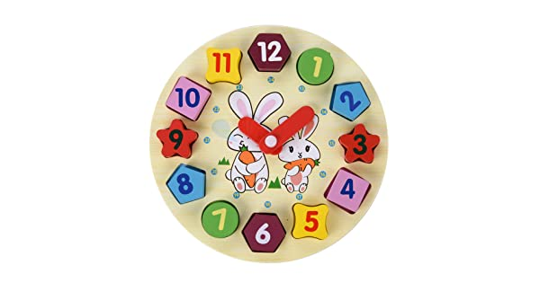 Bluecell Wooden Rabbit Alarm Clock Puzzle Shape with Digital Building Blocks for Kids