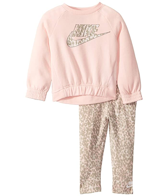 Nike Kids  Sportswear Leopard Long Sleeve T-Shirt and Leggings Two-Piece Set (Toddler) (Echo Pink) Girls Active Sets