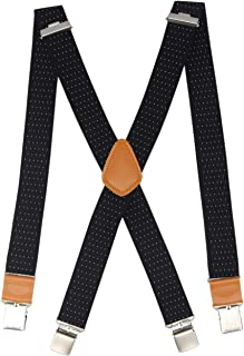 Cedrainy Men's Suspender X Back with 4 Metal Controlled Clips Wide Braces & Solid Clips Heavy Duty