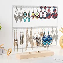 QILICHZ Ear Stud Holder Earring Stand 3-Tier Earring Holder Decorative Jewelry Holder Display Rack Jewelry Stand Display with Wooden Tray/Dish for Earrings Necklace Bracelet Rings
