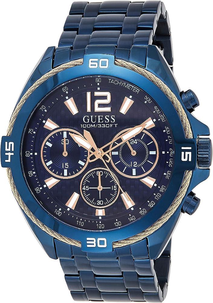 Guess,orologio cronografo per uomo,in acciaio pvd blu W1258G3