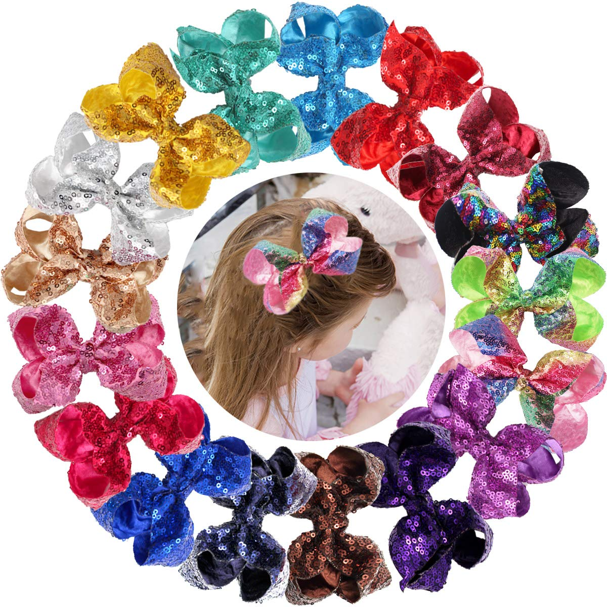 18PCS Max 50% OFF Max 71% OFF Baby Girls 4Inch Hair Glitter Wit Sparkly Sequin Bows
