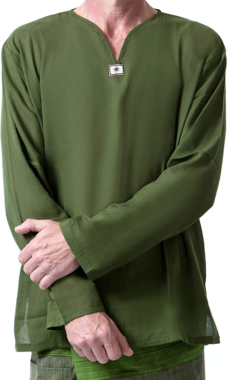 MEMITR Men Renaissance Medieval Green Cotton T Shirt V Neck Hippie Pirate Fisherman Beach Kurta Yoga