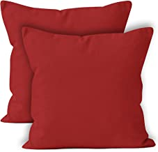 Encasa Homes Throw Cushion Cover 2pc Set - Deep Red - 18 x 18 inch Solid Dyed Cotton Canvas Square Accent Decorative Pillow Case for Couch Sofa Chair Bed & Home
