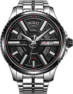 Burei - Reloj de pulsera para hombre y mujer, reloj automático de cuarzo, reloj de pulsera analógico de moda, esfera redonda, correa de acero inoxidable y correa de cuero