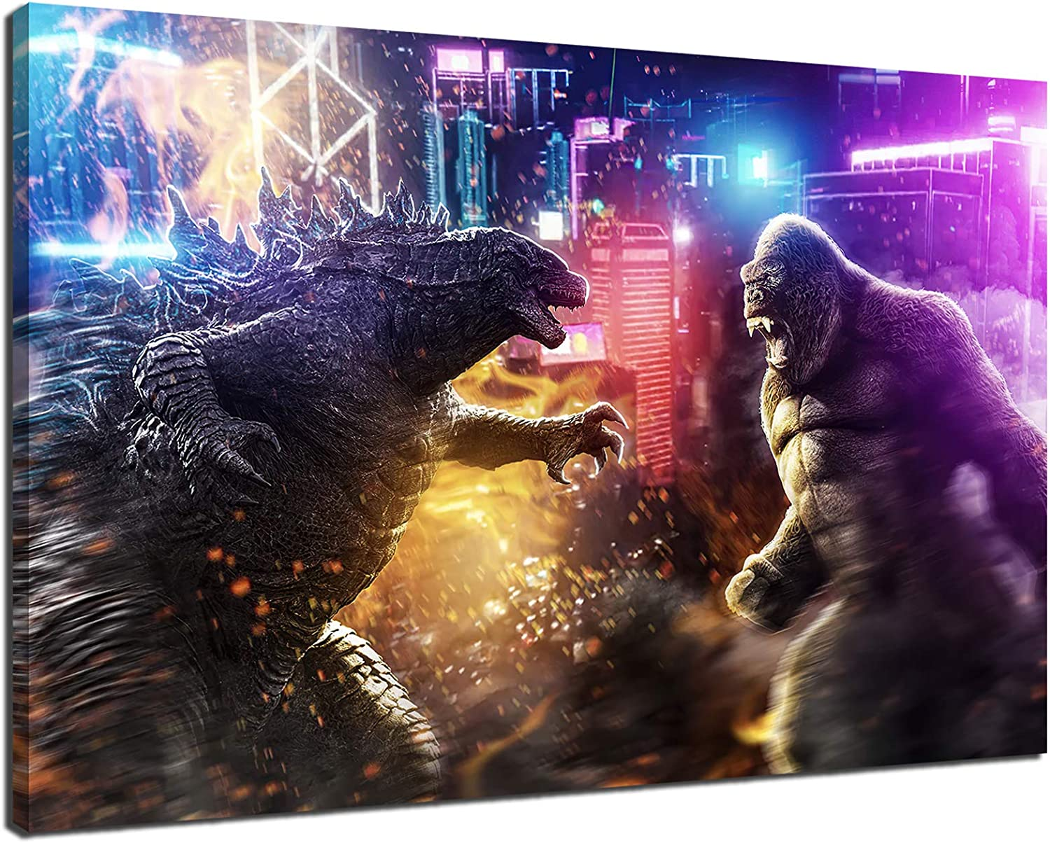Godzilla and New Orleans Mall King Kong 2021 movie wall canvas Super sale period limited poster HD printing
