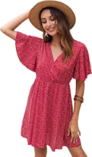 Romwe Women's Short Sleeve V Neck All Over Print High Waist A Line Summer Short Dress