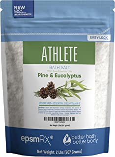 Athlete Bath Salt 32 Ounces Epsom Salt with Lavender, Pine, Peppermint and Eucalyptus Essential Oils Plus Vitamin C and All Natural Ingredients BPA Free Pouch With Easy Press-Lock Seal