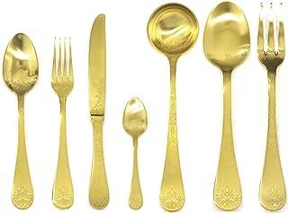 Mepra Casablanca Ice Oro Flatware Set [51 Piece Set] Brushed Gold Finish, Dishwasher Safe Cutlery