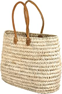 Moroccan Straw Shoulder Bag w/Brown Leather Handles - 21