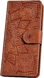 JAWSEU mobiltelefonfodral för Samsung Galaxy S10 skal mobilväska, Mandala blommor motiv mönster läder fodral flip case sky...