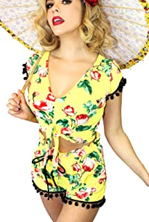 Cute Sexy Pinup Top and Shorts Set 2fer Playsuit Romper Set