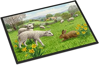 "Caroline's Treasures ASA2179MAT Lambs, Sheep and Rabbit Hare Indoor or Outdoor Mat, 18"" x 27"", Multicolor"