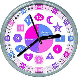 Shapes Educational Wall Clock - Silent Movement Time Teaching Clock for Teacher's Classrooms and Kid's Bedrooms, Girls