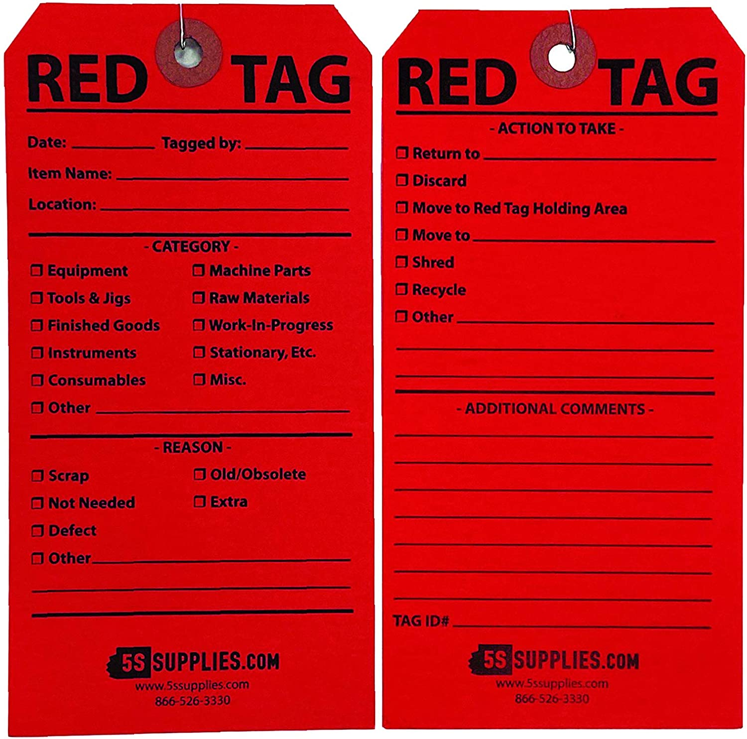 Amazon com: 5S Red Tags (Wired) (50 Pack Red): Industrial