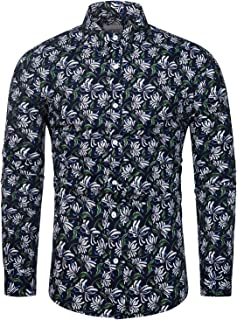 TUNEVUSE Men Floral Dress Shirts Long Sleeve Casual Button Down Shirts 100% Cotton