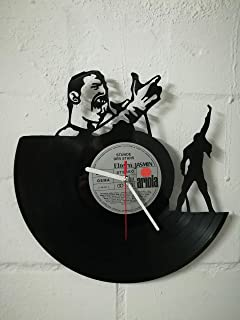Reloj de pared de vinilo con motivo de Freddie Mercury reloj de diseño upcycling reloj de pared decoración vintage reloj d...