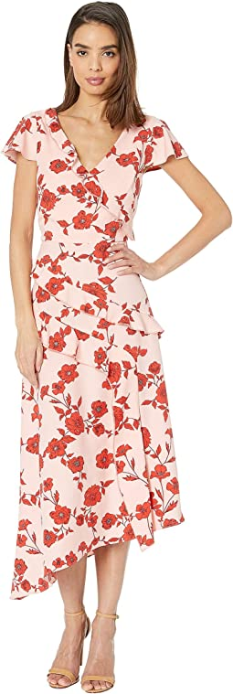 Gauzy Crepe Floral Fit and Flare Dress Living Blooms Ruffle