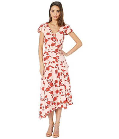 Adrianna Papell Gauzy Crepe Floral Fit and Flare Dress Living Blooms Ruffle (Pink/Red Multi) Women