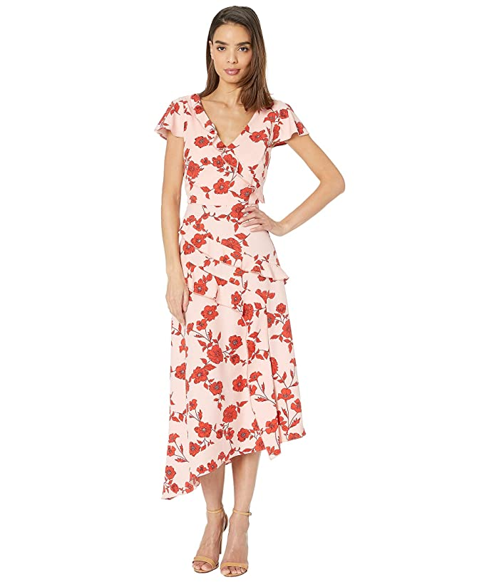 1920s Downton Abbey Dresses Adrianna Papell Gauzy Crepe Floral Fit and Flare Dress Living Blooms Ruffle PinkRed Multi Womens Dress $110.99 AT vintagedancer.com