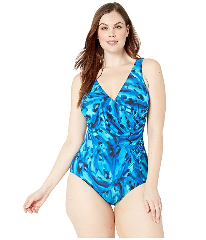 Miraclesuit Plus Size Ocean Ocelot Oceanus One-Piece (Blue) Women