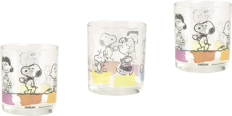 Excelsa Peanuts - Juego de 3Vasos de 25cl, de Cristal Transparente, 8x 8x 9cm