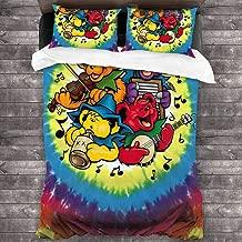 Grateful Tie-Dye Music Bears Microfiber Comforter Set 86x70 in, Unique 3 Piece Bedding Sets with 2 Pillowcase
