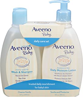 Aveeno Baby Gentle Moisturizing Daily Care Set, Natural Oat Extract, Natural Colloidal Oatmeal, 2 Items