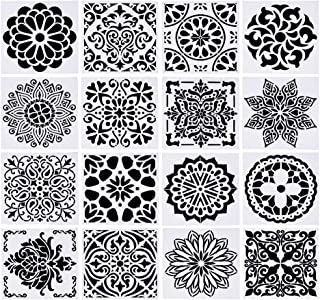 """BENECREAT 16 PCS (6""""x6"""") Mixed Floral Pattern Painting Stencils Plastic Hollow Stencils for Decorating Painting Craft"""