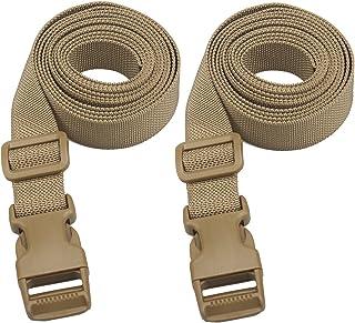 Molle スーツケースベルト 荷崩れ防止 調整可能 梱包バンド (2pcs) (2m, 深いカーキ)