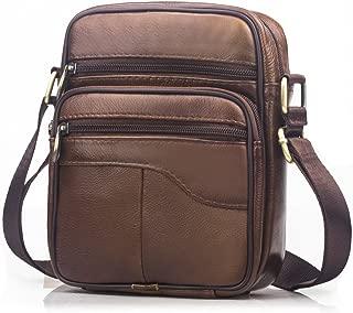 SPAHER Men Leather Handbag Shoulder Bag Satchel Business Messenger Backpack Crossbody Casual Tote Sling Travelling Bag For Wallet Purse Mobile Phone Keys Brown