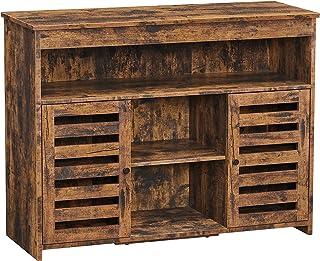 VASAGLE Meuble de rangement, Buffet, Meuble de cuisine, avec placard et étagères, portes à persiennes, pour salle à mange...