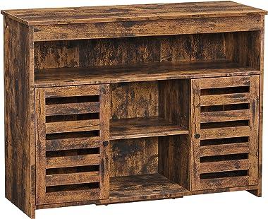 VASAGLE Meuble de rangement, Buffet, Meuble de cuisine, avec placard et étagères, portes à persiennes, pour salle à manger, s