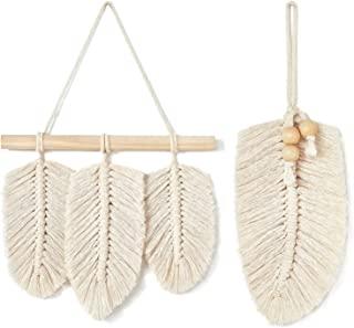 Mkono Small Macrame Wall Hanging Feather Boho Chic Woven Leaf Tassels Decoration Cotton Ornaments with Wooden Beads Home Decor, Set of 2
