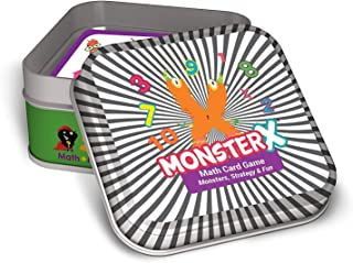 Qurious MonsterX | STEM Memory + Math Flash Card Game | Fun Super Monsters Improve Memory & Addition, Subtraction, Multiplication and Division | Perfect Compact Travel Game | up to 6 Players