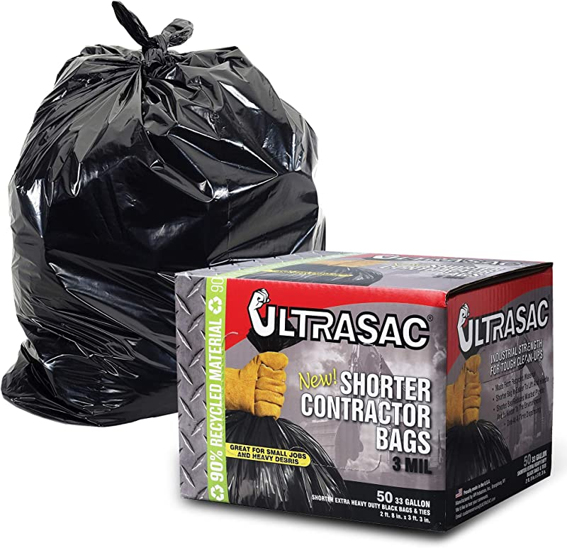 UltraSac Contractor Trash Bags 50 Pack W Ties Heavy Duty 3 MIL Thick 39 X 32 Shorter 33 Gallon Black Version For Industrial Commercial Professional Construction Lawn Leaf And More