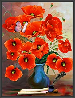 Poylaamo, Red Flower Vase Floral Wall Painting/Wall Art with Black Photo Frame for Living Room, Bedroom, Study or Gift Ite...