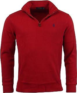 02eef2396305ea Polo Ralph Lauren Men s Half Zip French Rib Cotton Sweater (Red 2017