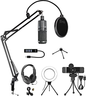 Audio-Technica AT2020USB+ Condenser USB Microphone for Windows and Mac Bundle with Blucoil 1080p USB Webcam, Boom Arm Plus...