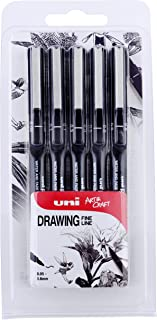 Uni-Ball 153486623 - Pack de 5 bolígrafo de dibujo, color negro