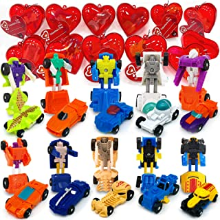 AMENON 28 Pack Valentines Party Favors Gift Cards Transform Car Robot Toys Filled Heart 10 Different Vehicle Kids Valentin...