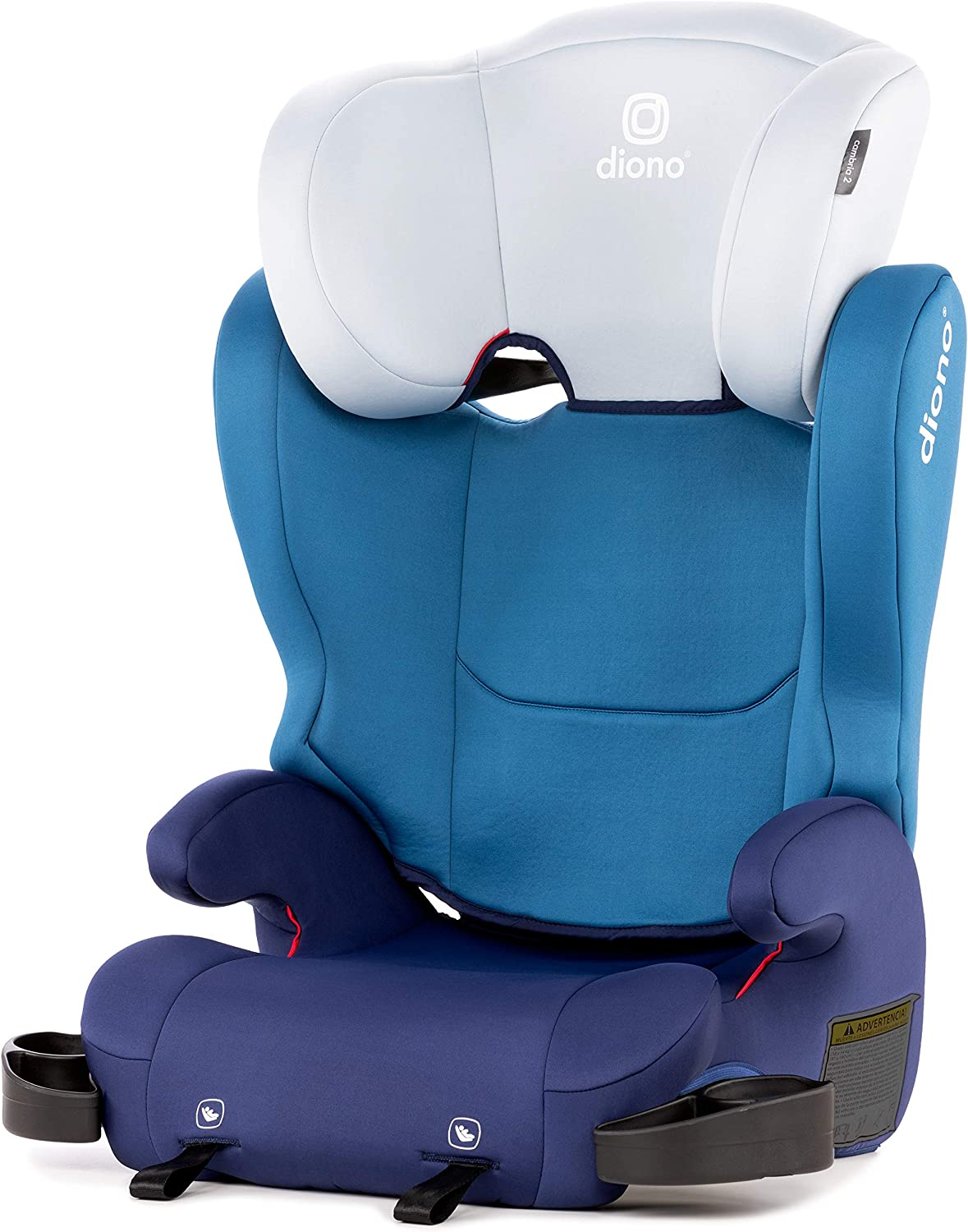 Diono Cambria Booster - 2-In-1 Car Seat - High Back and Backless Booster - Forward-Facing 40-120 Pounds - 6-Position Adjustable Headrest - Roomy Comfort for Your Big Kid - bluee