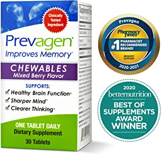 Prevagen Improves Memory - Regular Strength 10mg, 30 Chewables |Mixed Berry| with Apoaequorin & Vitamin D | Brain Suppleme...