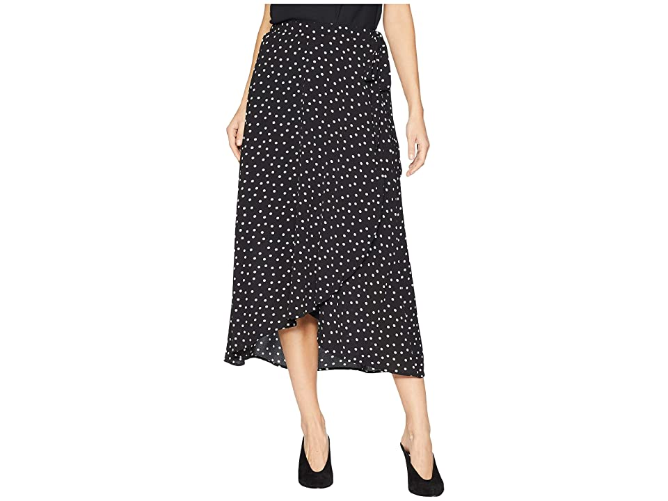Bobeau Wrap Skirt Bubble Crepe (Black Dots) Women