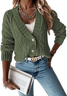Aleumdr Chandail Femme Cardigan Gilet Fermeture Boutons Tricot Veste Outwear en Maille Torsadé Sweat S-XXL